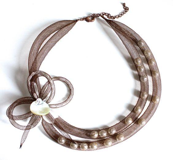 Collier résille et perles de Mlle et une perle: