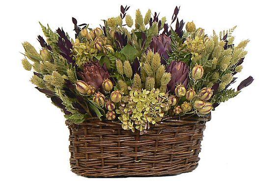 Purple Artichoke Arrangement in Basket on OneKingsLane.com