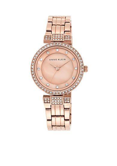 Anne Klein Women's Rose Gold-Tone Crystal Dress Watch