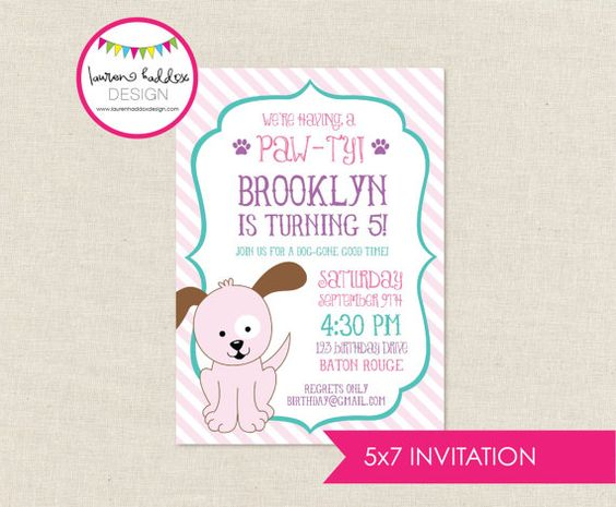 DIY Pink Puppy Birthday Invitation by LaurenHaddoxDesign on Etsy