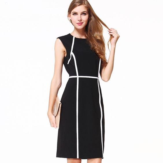 Elegant Slimming Color Block Sleeveless Midi Length Dresses Black