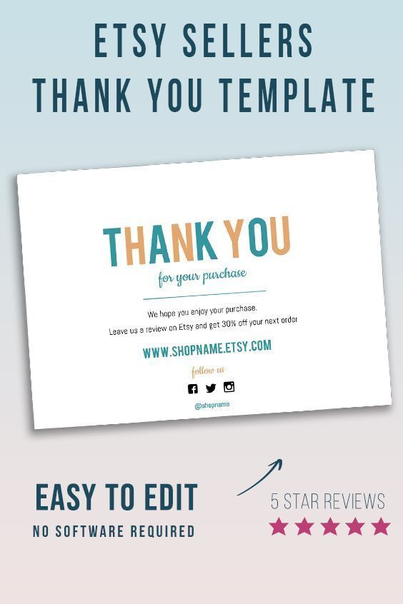 Colorful Thank You For Your Purchase Card Packing Note Etsy Shop Brand Card Add Your Logo 5x7 Download Purchase Card Etsy Shop Branding Etsy Shop