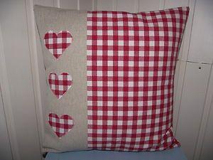 Handmade Laura Ashley red gingham hearts cushion - Breifne Cottage Designs - ebay