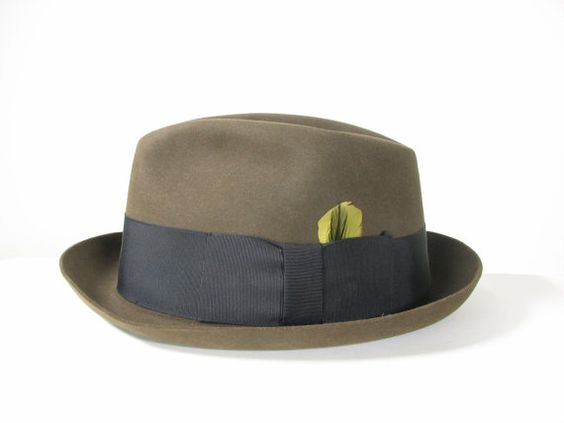 Mens 50s Green Gangster Fedora Hat by snootieseconds, $89.99