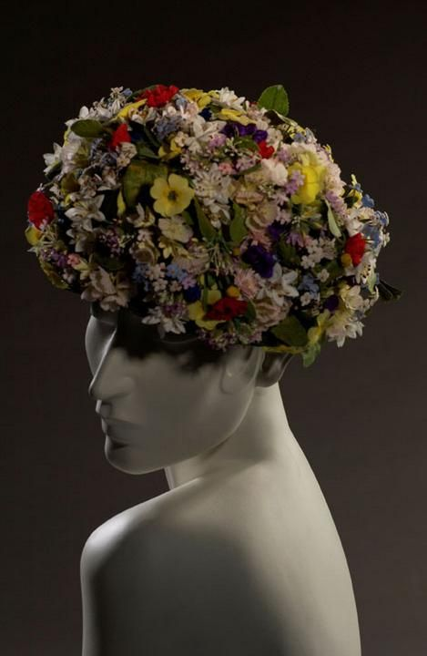 1950s - Multi-coloured hat with applied flowers by Vernier