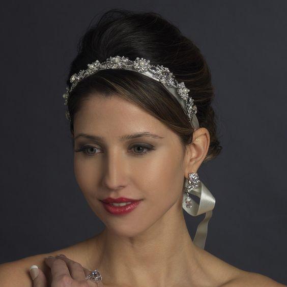 Antique Silver Crystal & Ivory Pearl Bridal Ribbon Headband Headpiece