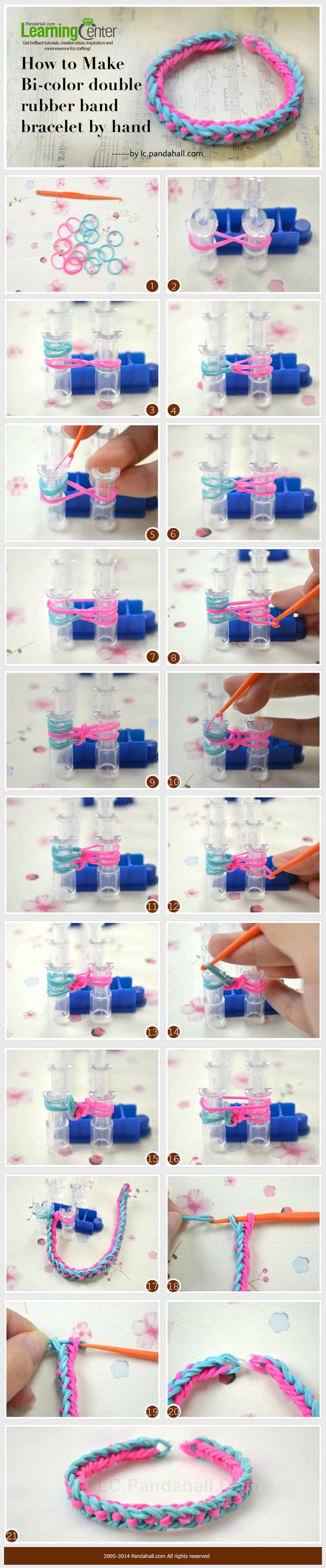 How to Make Bi-color Double Rubber Band Bracelet by Hand
