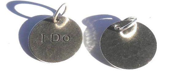 Silver I DO Round Charms 12mm 4 Pieces Marriage by PurpleBirdie