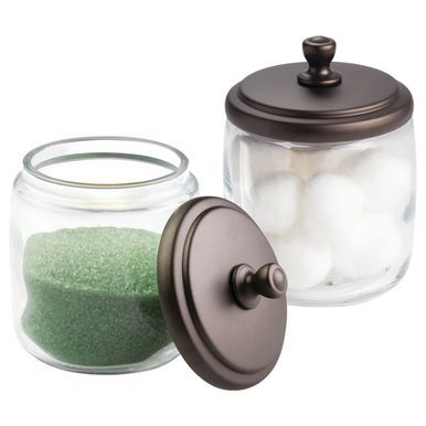 Round Glass Vanity Storage Jar Pack Of 2 Glass Bathroom Jar