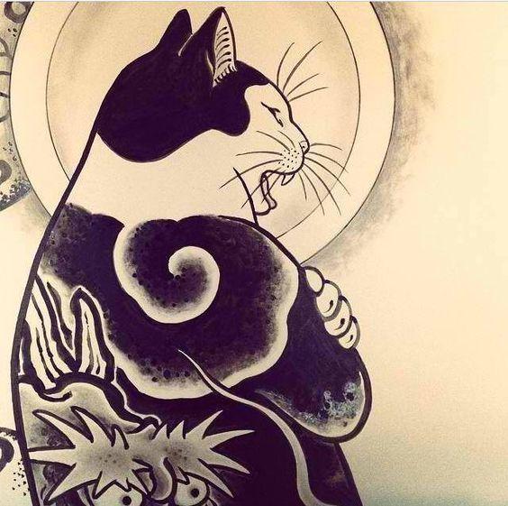 Kazuaki Horitomo Kitamura Contemporary Japanese American Cat Art Cat Tattoo Cat Artwork