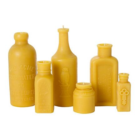 Two things I love together: old looking bottles and beeswax candles!