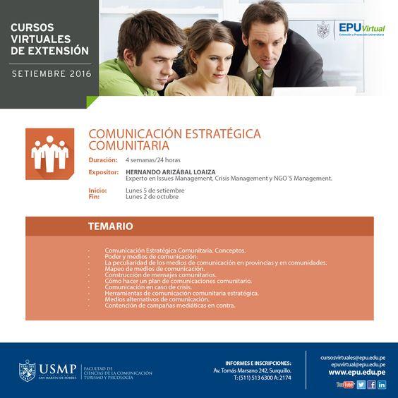 Comunicación Estratégica Comunitaria. Inicio 5 de setiembre.