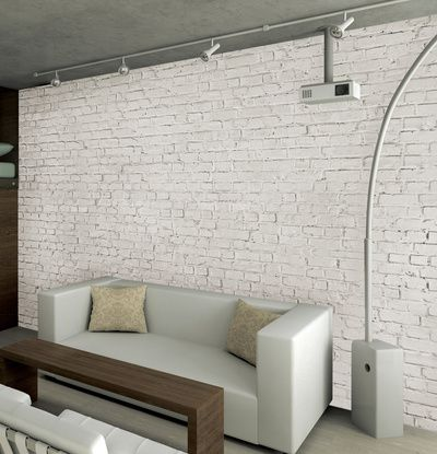 White loft brick wallpaper mural wallpaper mural p for Brick mural wallpaper