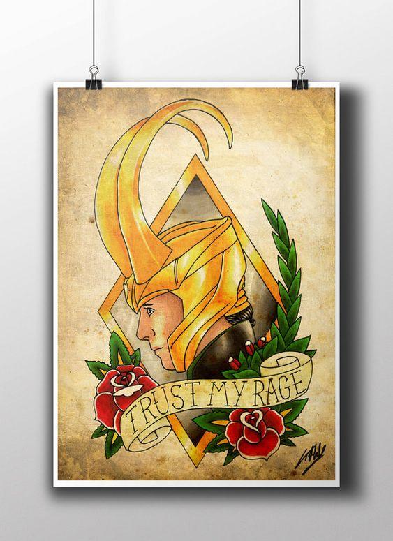 Sons of Odin Thor & Loki Tattoo Parlour Poster by NebulaPrints