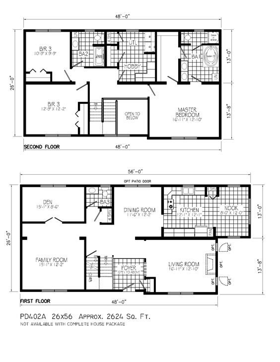 Perfect 2 story house floor plans on home design with for Two story house plans
