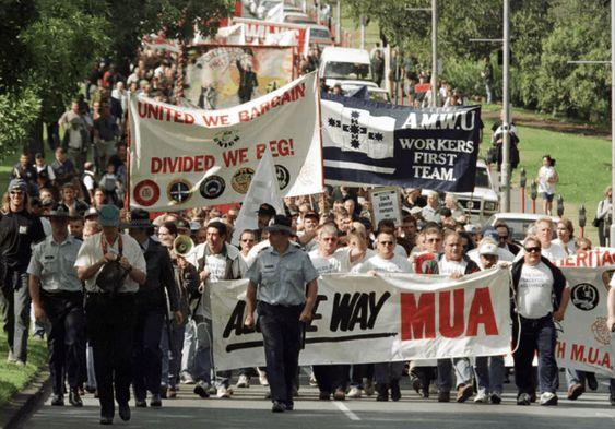 Marcha de los estibadores australianos en solidaridad con la lucha de los sindicatos sudafricanos contra el apartheid. Año 1980. Foto: Reuters