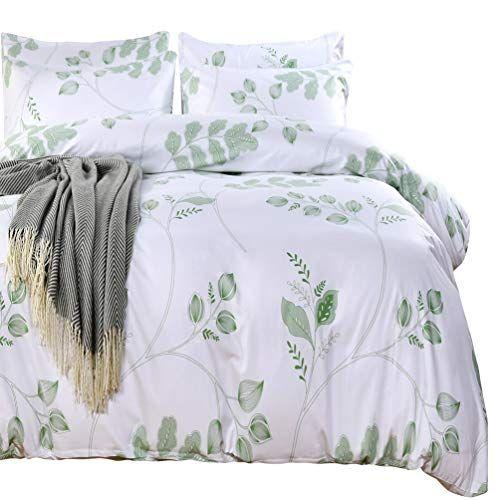 Sexytown Botanical Duvet Cover Set With Zipper Closure Green Leaves Duvet Cover And Pillowcase Set Green Tre Quilt Cover White Comforter Cover Duvet Cover Sets