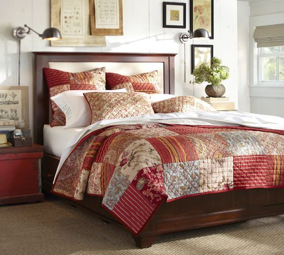 Georgia Patchwork Quilt Sham Red Pottery Barn Master Bedroom Pinterest Stains Quilt
