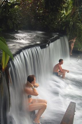 TABACÓN HOT SPRINGS Tired after a long morning of hiking through the jungle? Sooth your aching bones in these naturally-heated thermal springs, surrounded by lushly landscaped gardens offering a perfect view of the active Arenal Volcano. The strongest stream flows over a sculpted waterfall, providing the perfect hydraulic shoulder massage. The resort's impressive spa also offers professional massages and mud masks.