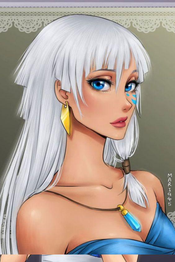 Las princesas disney dibujadas en modo anime: Kida