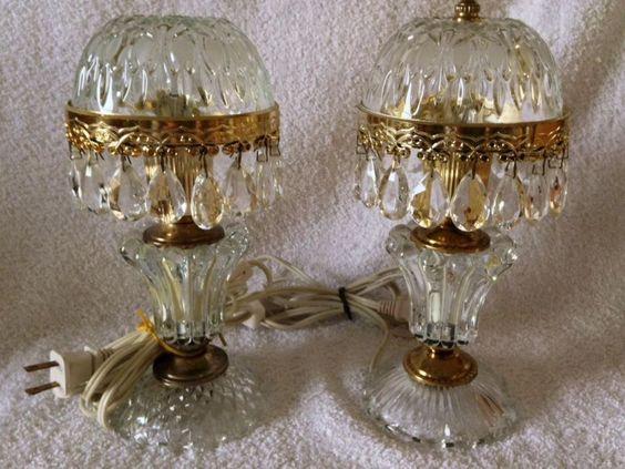 set 2 Crystal Prism Boudoir lamps Bedside nightlight vintage Parlor light France