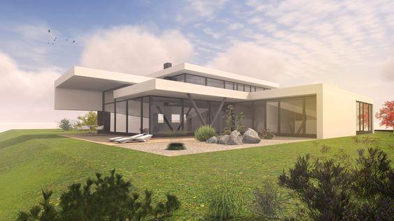Modernes Architektenhaus Karlsruhe - Neubau 1,5 - geschossig  Okal ...