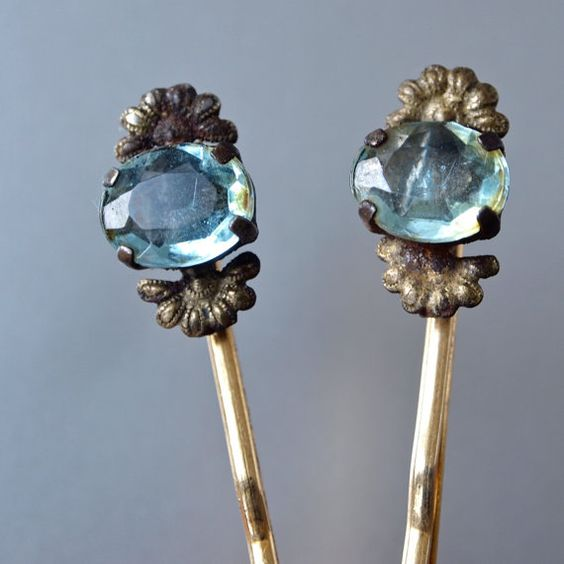 2 Vintage Hair Pins Czech Aquamarine Oval Brass Fan Hair Jewelry Art Deco