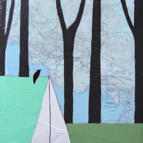 Original paintings over maps by Rachel Austin