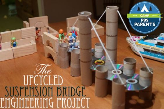 Upcycled Suspension Bridge--This cool and creative project will help kids learn about civil engineering. #CampPBSParents: