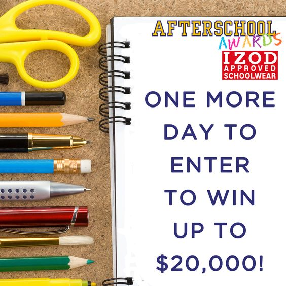 SUBMIT your entries AS SOON AS POSSIBLE! We are accepting candidates until TOMORROW to win up to $20,000! Have your son or daughter between Kindergarten and 9th Grade APPLY NOW → www.afterschoolawards.com