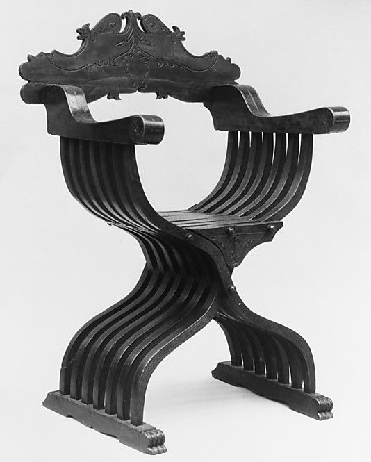 Folding armchair, MMoA Date:     16th century Culture:     Italian (Tyrolese or North Italian) Medium:     Carved walnut Dimensions:     43-3/4 x 28-1/2 x 15-1/2 in. (111.1 x 72.4 x 39.4 cm)