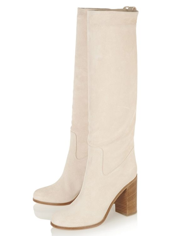 Beige Suede Pull-on Chunky Heeled Knee High Boots | Choies