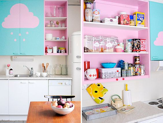 Would my boyfriend mind if I decorated my kitchen like this?: Candy Colors, Color Inside, Bright Color, Aqua Kitchen, Pink Clouds