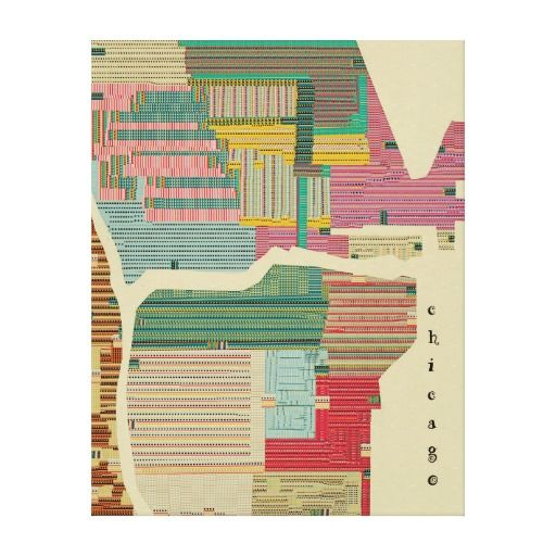 Chicago map modern gallery wrapped canvas