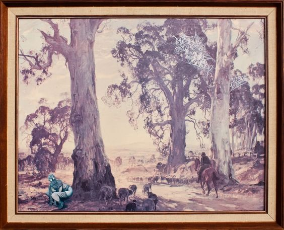 Spidey takes a quick dump!    It wasn't just his spider senses tingling after too many baked bean meals while out doing the annual sheep muster.    This remixed painting by Andy Heyward measures 670 x 540mm. The original print is called Droving into the light by Sir Hans Heyson.