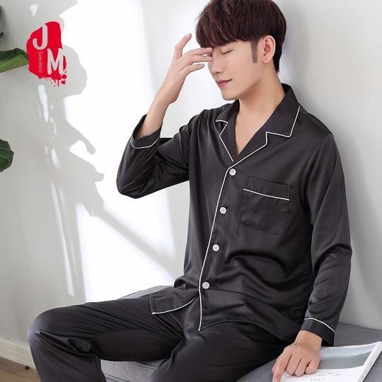 Mens Pajama Set Full Sleeve Summer Autumn Silk Casual Two Piece Sleepwear Suit