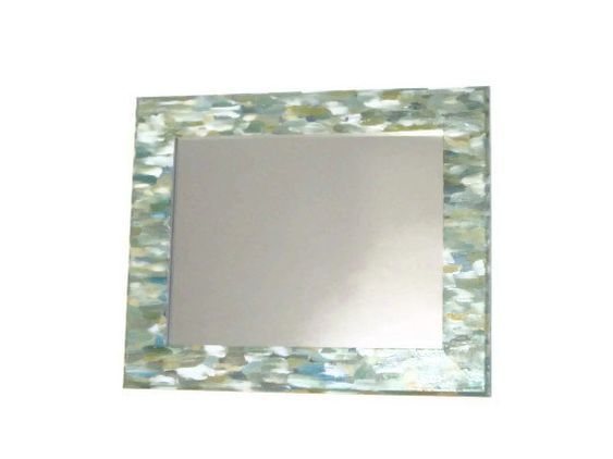 Green Beach Themed Bathroom Mirror Seaglass Colored Mirror Shabby Chic Hand Painted Ornate