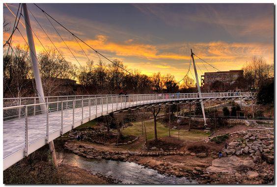 Liberty Bridge in Falls Park, Greenville, SC.  Photo by Eric Morris (flickr: restedtraveler).