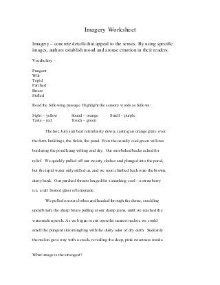 Printables Imagery Worksheets practice with imagery 4th grade pinterest worksheets worksheet