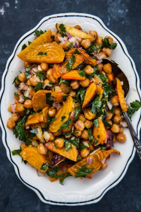 This might turn into my new fave meal: Chickpeas with Roasted Golden Beets and Carrots