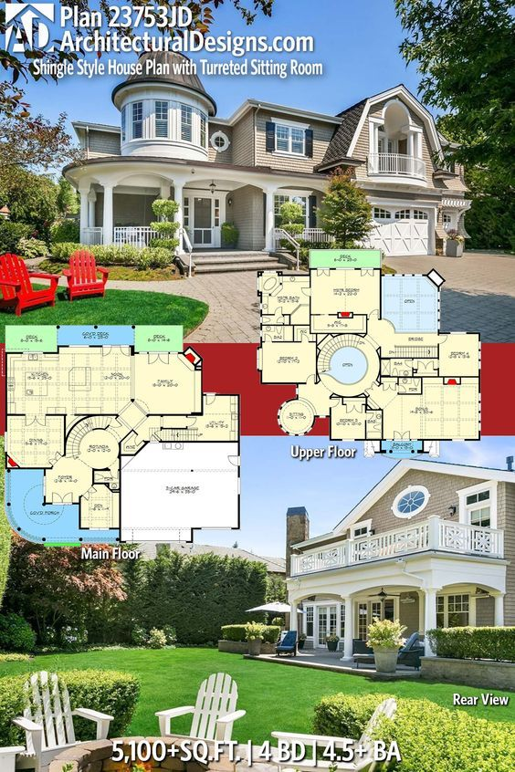 Plan 23753jd Shingle Style House Plan With Turreted Sitting Room House Plans Dream House Plans House Blueprints