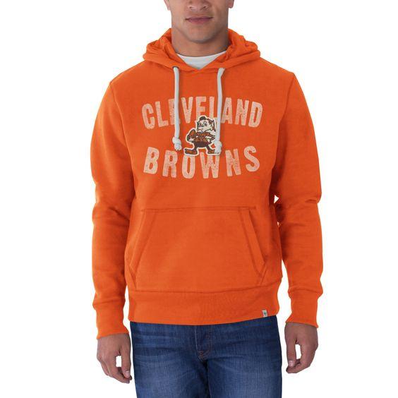 NFL Cleveland Browns Men's '47 Brand Cross-Check Pullover Hood, Carrot, Medium
