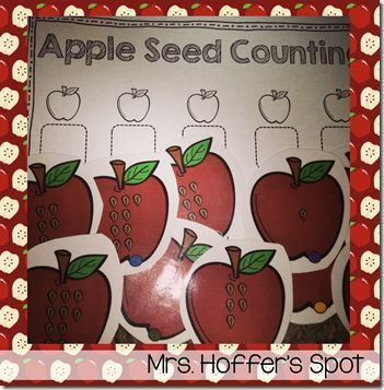 Look at those cute apples with seeds, students will draw a card, count the seeds and write it on their recording sheets.
