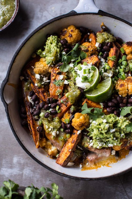 Sweet Potato and Black Bean Nachos with Green Chile Salsa