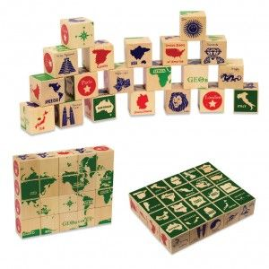 Geo Blocks, GeoBlocks have country names in English and native languages, capitals, national icons and a world map puzzle