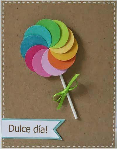 Paletas con c rculos de papel de colores manualidades - Manualidades con papel de colores ...