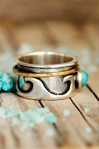 Turquoise Spinner Ring Boho Ring Wide Band Ring Meditation Spin Ring Two Tone Ring 925 Sterling Silver Women/'s Ring Handmade Ring