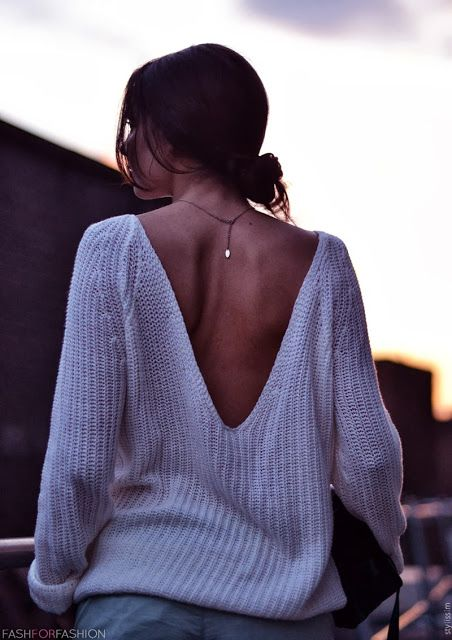 dipped-back sweater