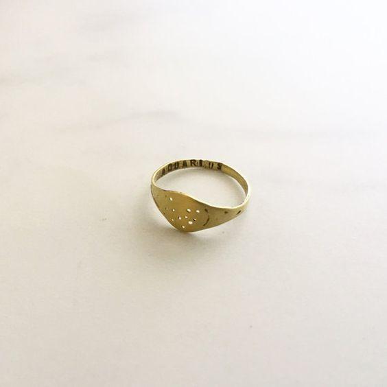 Bronze constellation signet ring