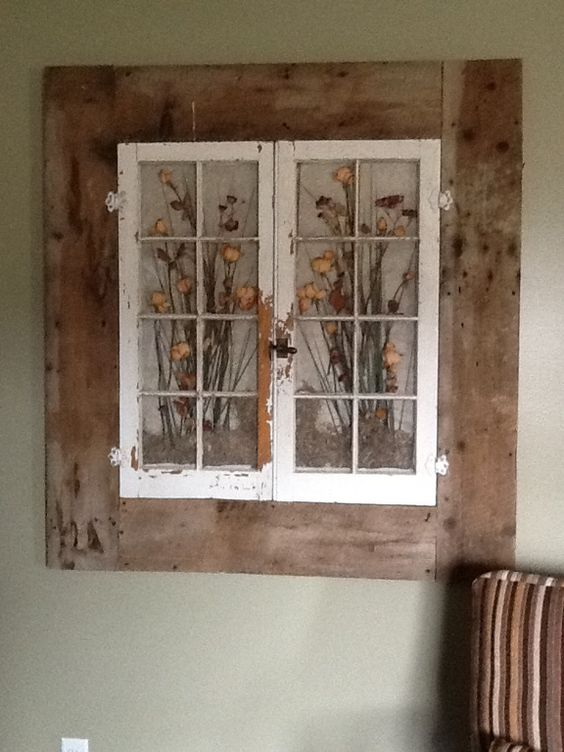 Old windows in a old barn wood frame my husband helped me with! Love it!